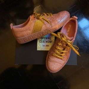 Opening Ceremony Pink Gold Glitter Sneakers As New